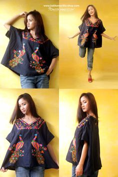 Batik Amarillis Made in Indonesia proudly presents...Batik Amarillis' Breezy Top in beautiful Mexican peacock embroidery .. it's Freesize , super cool,comfy ,sexy and swirling outfit with criss-cross back detail for you to enjoy and wear!!