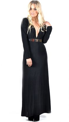 Codie Black Long Sleeved V Neck Gold Plated Maxi Dress | OMG Fashion