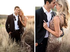 What a fun idea–dress formal for your engagement photos: get a dress from renttherunway.com and pop open some champagne!