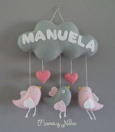 Mobile em feltro Toy Craft, Diy Baby, Mobiles, Artworks, Crafts For Kids, Baby Shower, Rooms, Sewing, Children