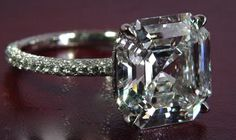 Leon Mege Asscher Cut Ring with Pave Band
