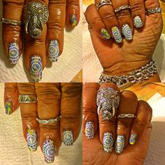 My latest mani. That's my new ring by Samuel B. From Evine. I love this Elephant ring it's sooooo awesome!!!!!