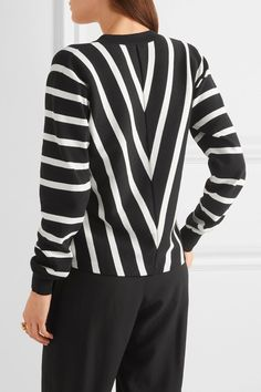 Chloé - Striped Cotton Sweater - Black -