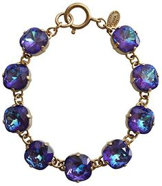 Catherine Popesco Goldtone Crystal Round Bracelet 725 Ultra Purple 1696G * Read more  at the image link.