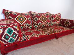 floor seating,floor cushions,arabic seating,arabic cushions,floor sofa,oriental seating,furniture,majlis,jalsa,floor couch,arabic couch - MA 40. TRADITIONAL MIDDLE EASTERN ORIENTAL FLOOR SEATING SOFA Perfect for furnishing and decorating homes, hookah bars, hotels, cafeterias, etc. This handmade authentic Middle Eastern floor sofa will certainly add an element and mystic to any room or space. Our versatile floor sofa sets make the perfect finishing touch, wherever you may wish to use them...