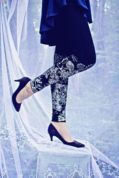 Black and white lace animal print leggings by ZIBtextile on Etsy