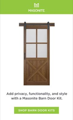 Instantly transform a room, adding functionality and character to any space with Masonite Complete Barn Door Kits. Learn more about sliding barn doors and how to install one in your home. Best Barns, Door Kits, Diy Barn Door, Interior Barn Doors, Space, Videos, Room, Shopping, Bench Seat
