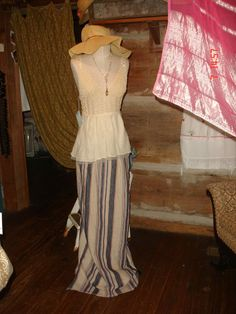 Low hip slung skirt and crochet halter blouse with a floppy hat....by Prairie Child Design