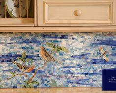 Mediterranean ocean scene using #glass #tile for a kitchen backsplash.