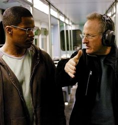 Jamie Foxx & Michael Mann on the set of Collateral