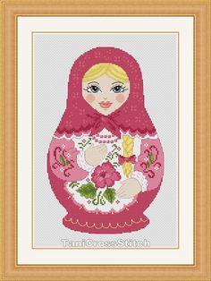 Cross stitch pattern Russian doll matryoshka por TaniCrossStitch, $7.50