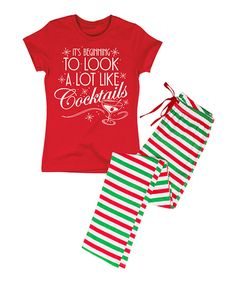Look at this Red & Green 'A Lot Like Cocktails' Tee & Stripe Pants Pajama Set on #zulily today!