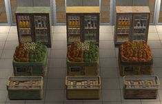 Mod The Sims - Grungy Grocery Store Set (Recolors) Grocery Items, Grocery Store, Rotten Fruit, Sims 2, Grunge, Apocalypse, Shopping, Grunge Style