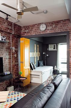A Two-Bedroom Condo with DIY Industrial Touches Apartment Renovation, Apartment Interior, Apartment Design, Micro Apartment, Condo Interior Design, Condo Design, Condo Decorating, Small Apartment Decorating, Condo Living Room