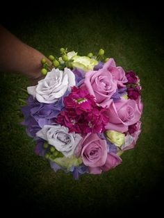 Wedding, Flowers, Green, Purple, Bridesmaids