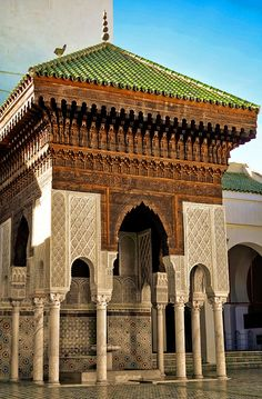 Beautiful Islamic Architecture at Karaouine University in FEZ, Morocco Mosque Architecture, Religious Architecture, Beautiful Architecture, Beautiful Buildings, Art And Architecture, Architecture Details, Islamic World, Islamic Art, Casablanca