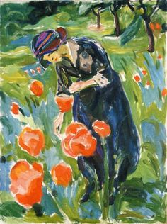 Edvard Munch - Woman with poppies (1919)