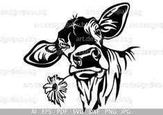 Vector COW with flower calf head AI PNG eps pdf svg Diy Scrapbook, Scrapbooking, Image Svg, Flower Svg, Vinyl Projects, Digital Image, Framed Art, Stencils, Digital Prints