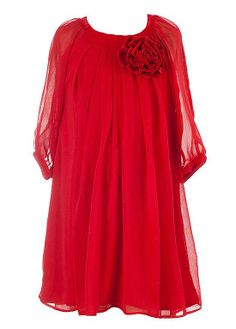 CHIC red chiffon dress for your little girl by boutique brand Peaches n Cream with removable 3-D velvet rose at neckline and 3/4 sleeves with slits - excellent dress for ANY special occasion! (available in sz.4-14) #Christmas