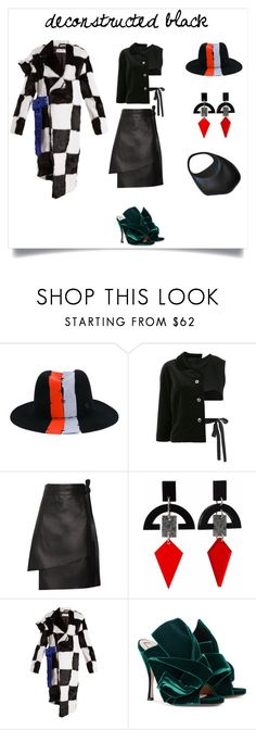 """Deconstructed2"" by marinaova ❤ liked on Polyvore featuring Maison Michel, Comme des Garçons, Acne Studios, Toolally, Marques'Almeida, N°21, Thierry Mugler, WorkWear, black and deconstructed"