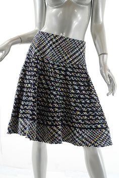 OSCAR de la RENTA Black Multi Cotton Blend Flounced Skirt  US 10  Special Weave #OscardelaRenta #FlareSkirt