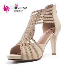 4323f6e358eb Universe Women Sexy Sandals Gladiator Super High Heel Shoes Plus Size 33-42 (4