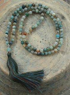 Beautiful faceted agate mala necklace - look4treasures on Etsy, $67.95