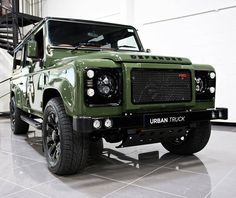 The Ultimate Defender, the Urban Truck RS feauturing the complete styling package with blistering Corvette Performance. Land Rover Defender 110, Defender 90, Landrover Defender, Car Throttle, Range Rover Supercharged, Celebrity Cars, Best Suv, Fancy Cars, Land Rover Discovery
