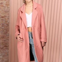 "NWT The Somedays Lovin' Venkman Coat Blush Pink XS The Somedays Lovin' Venkman Blush Pink Oversized Wool Coat of course! Medium-weight wool blend fabric boasts a boucle texture throughout this chic oversized coat with long cozy sleeves, and rounded collar. Notched lapels overlap to secure with a double button closure at the waist. Two front welted pockets top off this winter ready look! Kick pleat at back. Fully lined. Model is 5'8"" and wearing a size X-Small. Self: 50% Wool, 50% Polyester…"