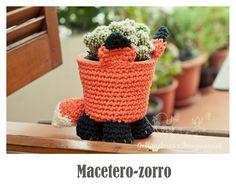 Macetero Zorro a  Crochet - Patrón Gratis en Español paso a paso