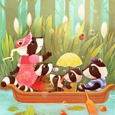 Illustration mouse fishing by Mae Besom