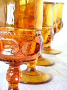 vintage amber goblets!