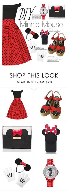 """""""DIY Halloween: Minnie Mouse"""" by chocolatecupcakes545 ❤ liked on Polyvore featuring Marc by Marc Jacobs, Kate Spade and Disney"""
