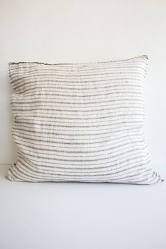 16X26 Pillow Insert One Woven Hemp Beige And Indigo Hmong Bohemian Stripe Zipper Pillow