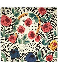 Cream Flower Basket Print Silk Scarf, L'Ecriture.