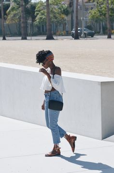 Off-Shoulder Goodness - http://www.itsnkenge #summertrends #forever21 #denim #style #casual #cute #pretty #girlythings #fun #nycblogger #nyc #soho #off-shoulder #zara #crochetbraids #protectivestyles