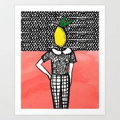 Lemon Head Art Print by Bouffants and Broken Hearts - $25.00