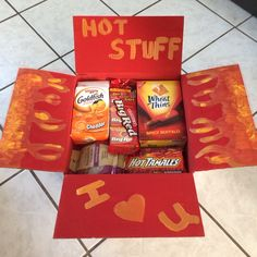 Hot stuff deployment care package! I painted some flames and added some hot flavored snacks!