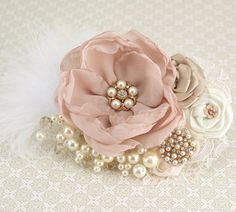 Bridal Hair Fascinator Clip in Blush Pink, Gold, Champagne and Ivory with Feathers, Lace, Pearls and Jewels on Etsy, $130.00