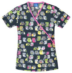 Owl Medical Scrubs - Cherokee Scrub H. Cotton Owl Be There Contrast Mock Wrap Scrub Top Cherokee Uniforms, Cherokee Scrubs, Buy Scrubs, Cherokee Woman, Medical Uniforms, Womens Scrubs, Medical Scrubs, Nurse Scrubs, Owl Print