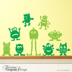 Nine Big Little Green Men Vinyl Wall Decals Goofy Alien by Twistmo, $40.00