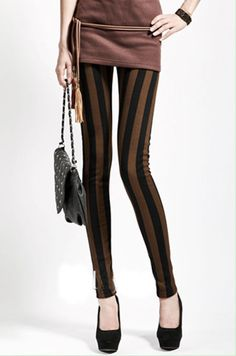 1 Sexy Black & Coffee Vertical Stripe Spandex Leggings Tights Pants Free Size #Other