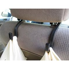 Handy Hooky - Car Headrest Hanger Hooks (set of 2) Converts your car's headrest into a convenient storage space to hang groceries, handbags, water bottles, kid's toys, baby supplies and much more! Organizes back seat clutter and opens up seat, floor and leg room. Swing hook around to either the front or back of the seat to use as desired. Keeps shopping bags from rolling around the floor, spilling their contents. Eliminates blocked vision caused by hanging clothing in rear view window.