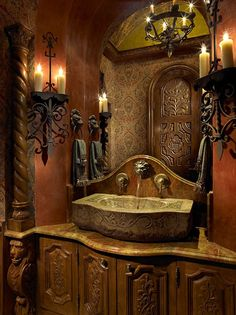 A modern bath in the medieval style - I must say that I adore that sink!  ~Splendor