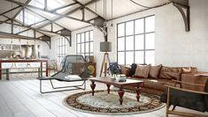 Industrial Chic Living Room Design Ideas | InteriorHolic.com