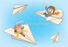 Boy and girl flying on a paper plane Royalty Free Stock Vector Art Illustration