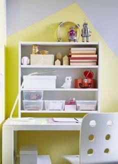 PÅHL bureau met open kastje   #nieuw #IKEA #IKEAnl #inspiratie #kinderkamer #bureau #verstelbaar #meegroeien #werkplek #studeren #school #tekenen #kleuren #geel #spelen