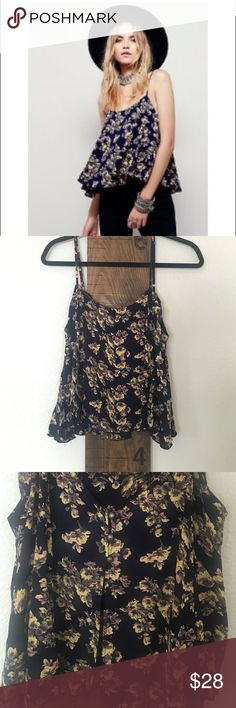 Free People Printed Perfect Day Cami Like New! I have only worn this once! Really cute Navy with yellow and peach floral print. It has three buttons down the back and open below that. Free People Tops Crop Tops