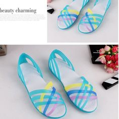 5196737e71db SGESVIER Women Sandals 2017 Summer New Candy Color Peep Toe Beach Valentine  Rainbow Croc Jelly Shoes