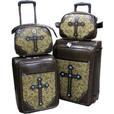"""Jade Cross"" Western Wheeled Luggage Set"